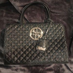 Faux Leather Logo embossed black Guess handbag